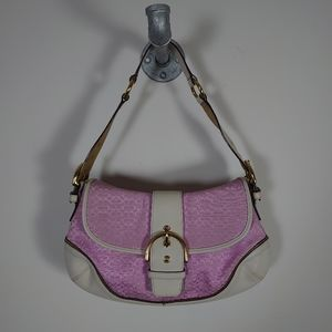 Coach 1456 Shoulder Bag Pink and White